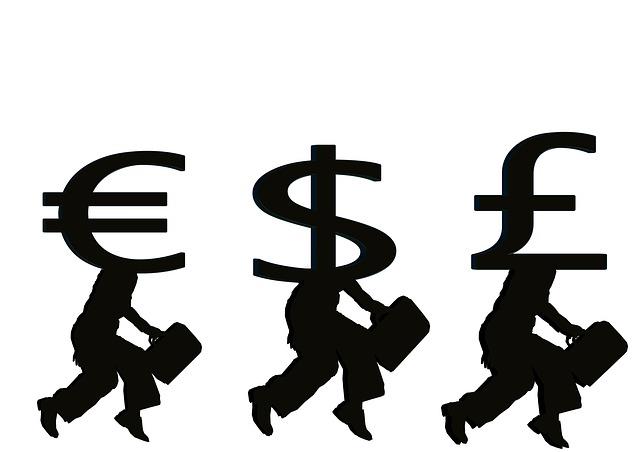 měna, symbol eura, dolaru a libry