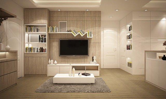 obývací pokoj s bodovým osvětlením